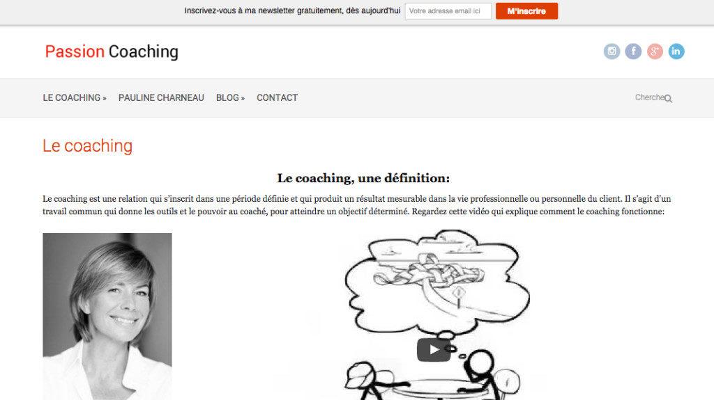 Image d'un site internet pour une coach développé par www.cyberformation.fr